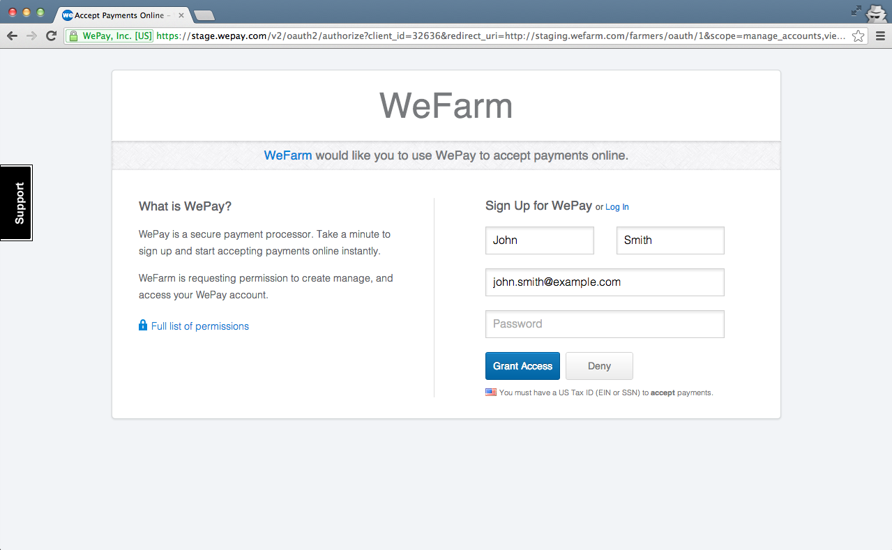 WePay oAuth Form